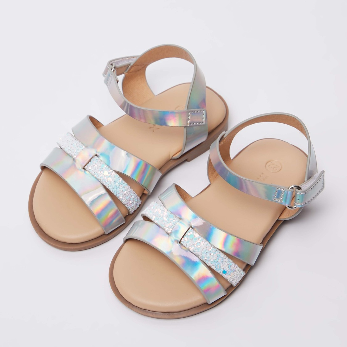 Glossy Strap Sandals with Hook and Loop Closure