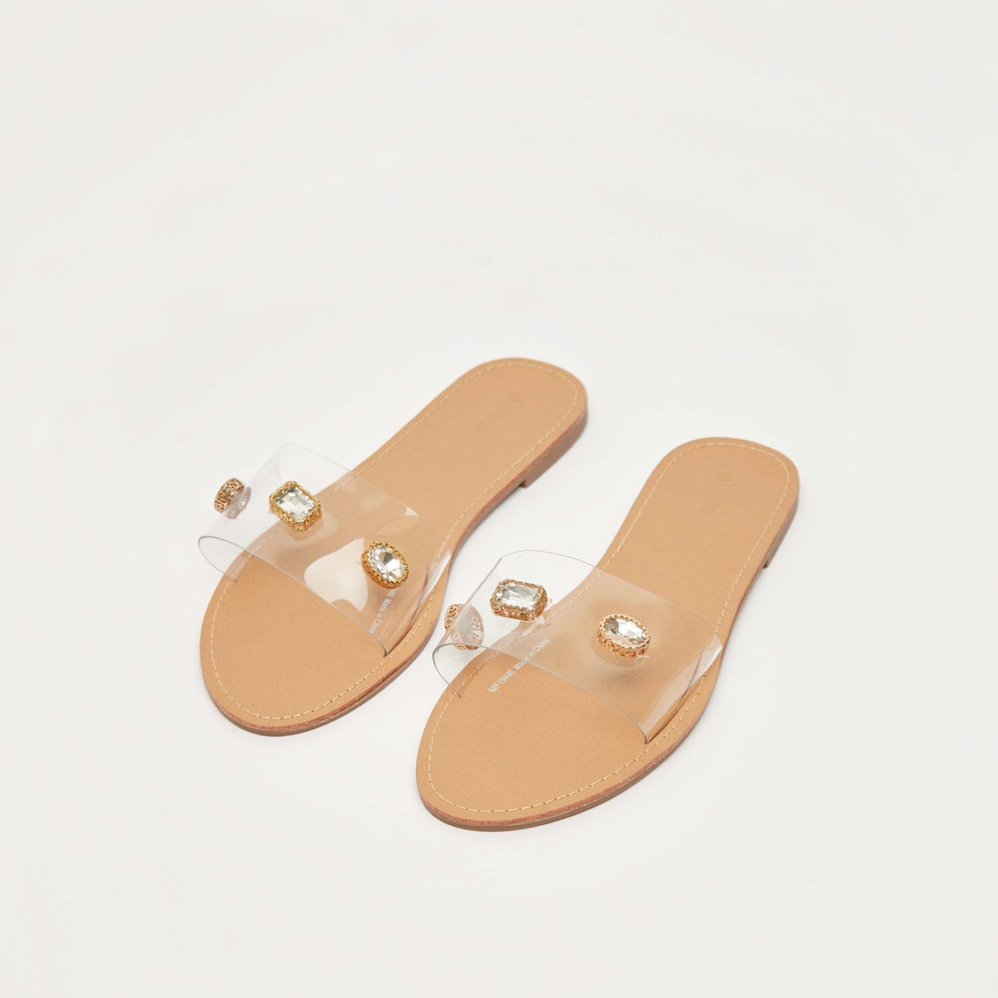 Stud Detail Slip-On Flat Sandals with Transparent Vamp