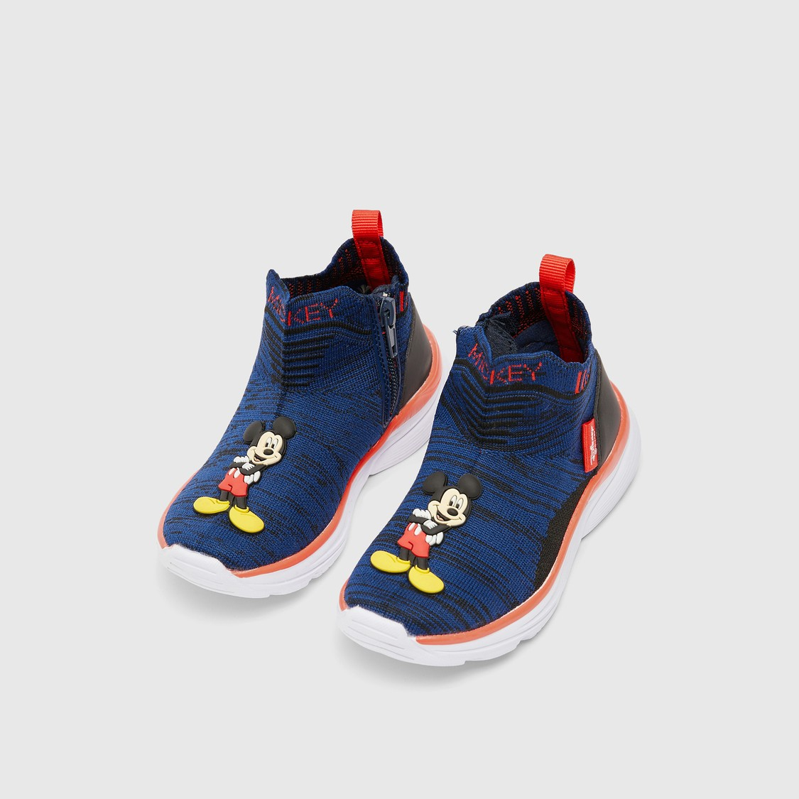 Textured Walking Shoes with Mickey Mouse Applique