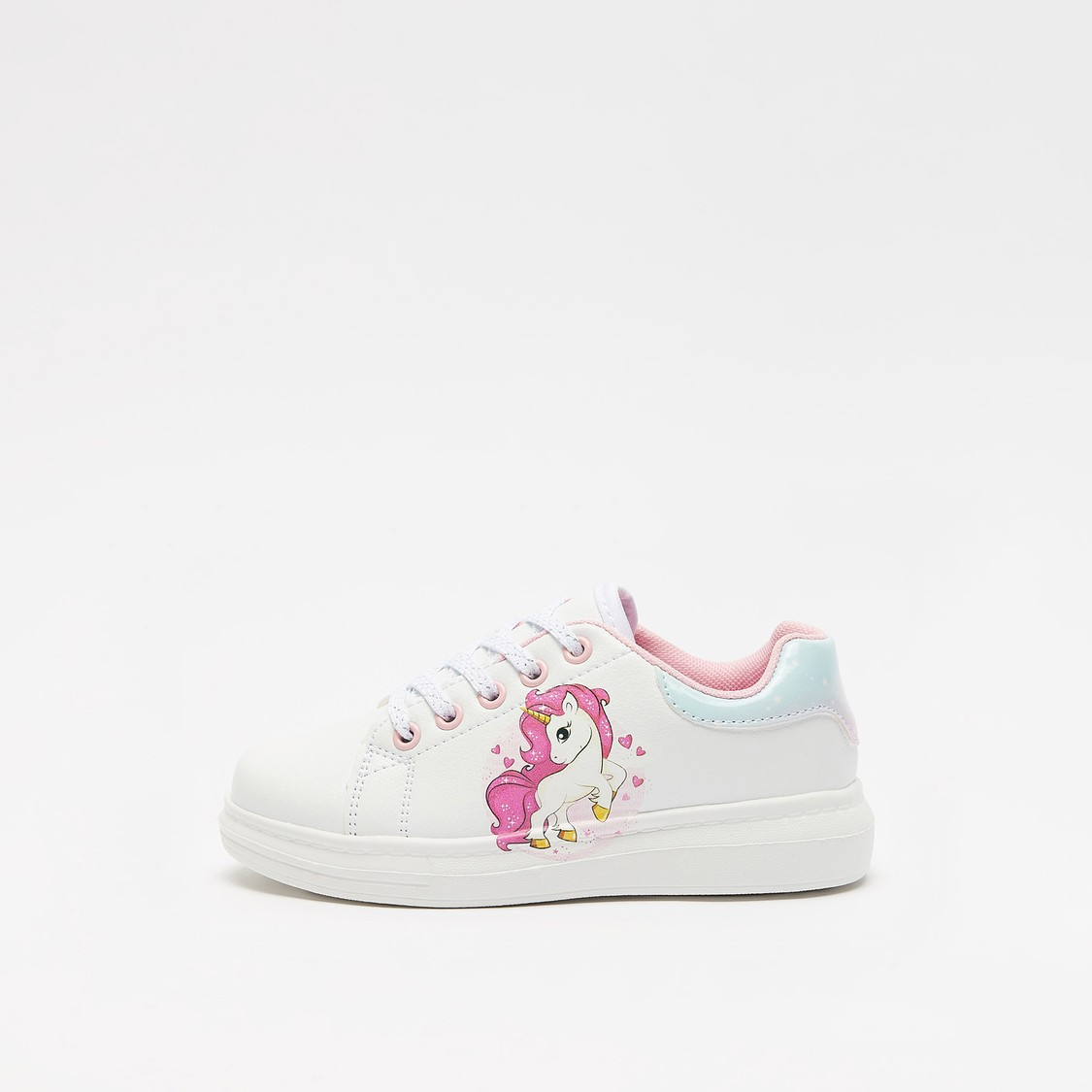 Unicorn Print Shoes with Lace-Up Closure
