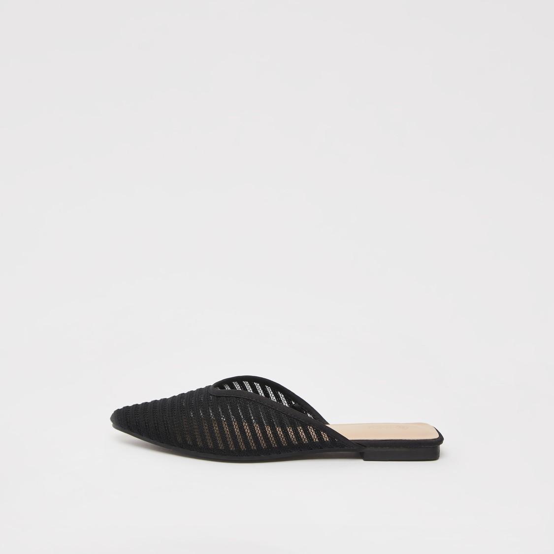 Textured Flat Heel Mules
