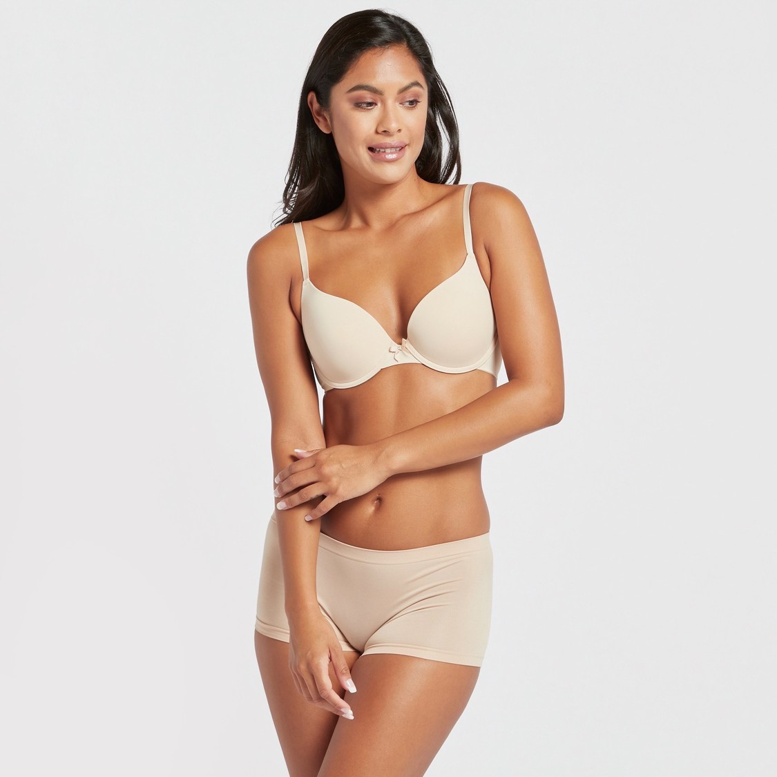 Set of 2 - Padded Plunge Bra with Hook and Eye Closure