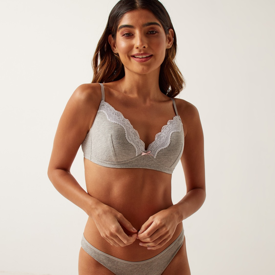 Set of 2 - Lace Detail A-frame Bra with Hook and Eye Closure