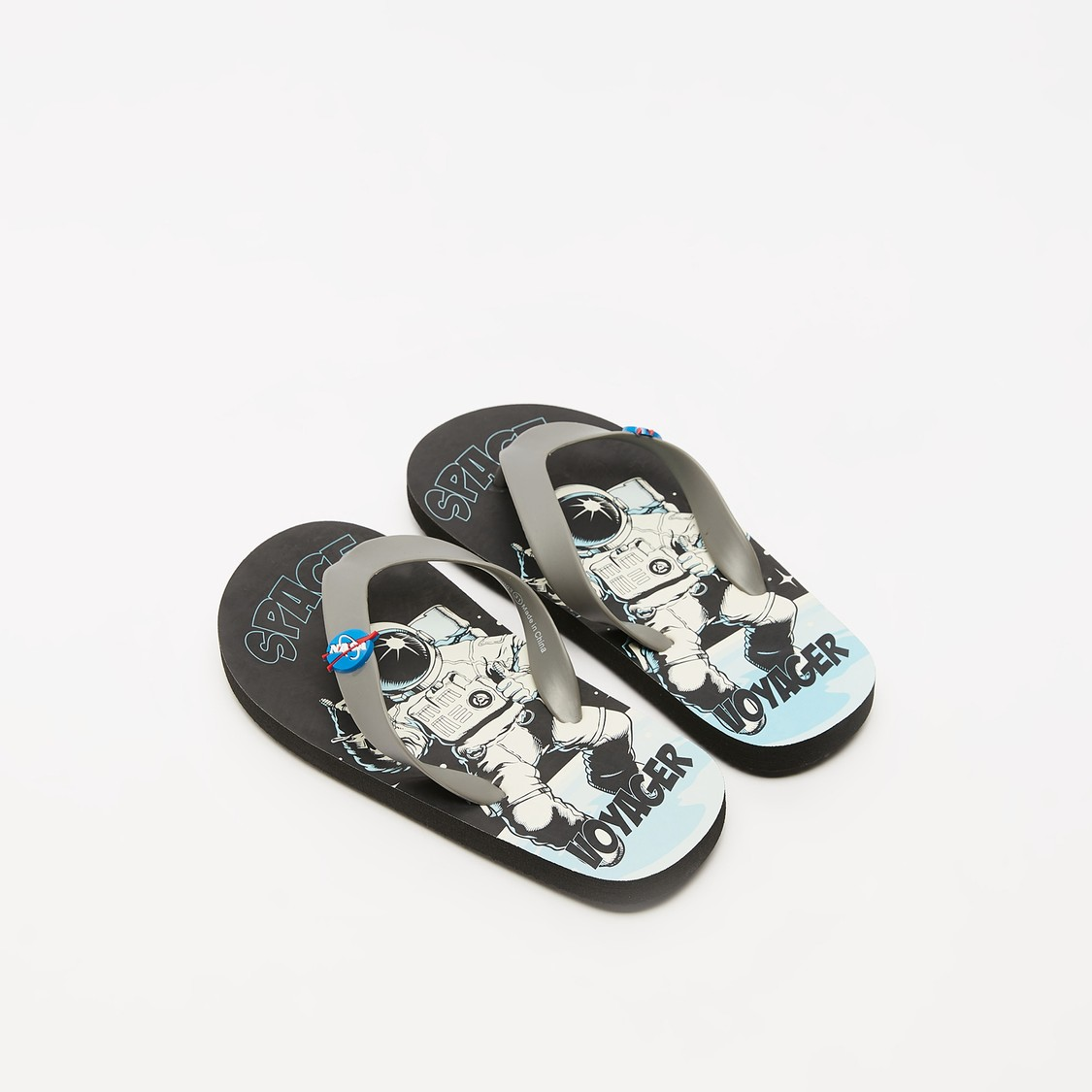 NASA Print Flip Flops with Applique Detail Straps