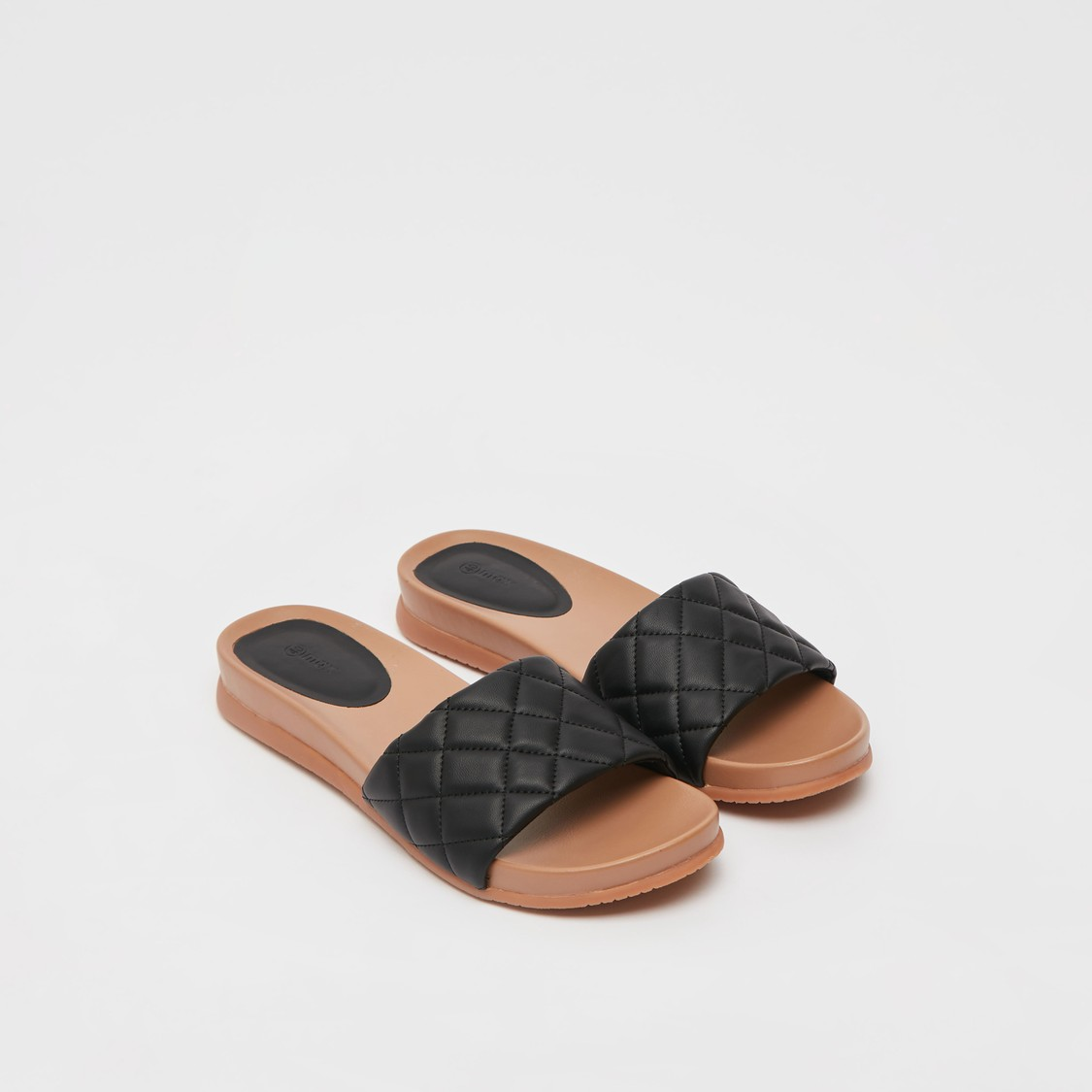 Slip-On Flat Sandals with Quilted Strap