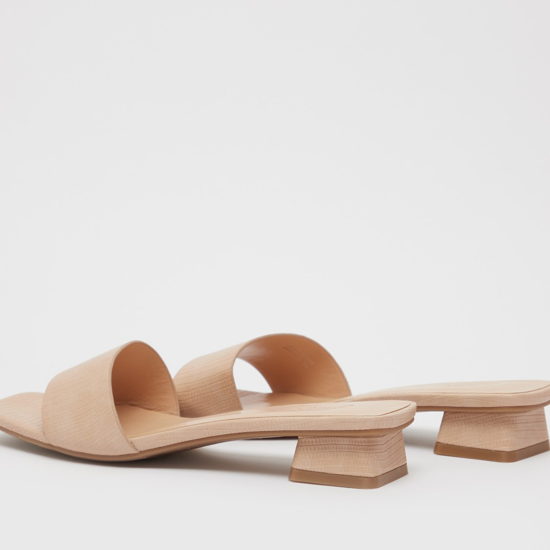 Textured Mules with Block Heels