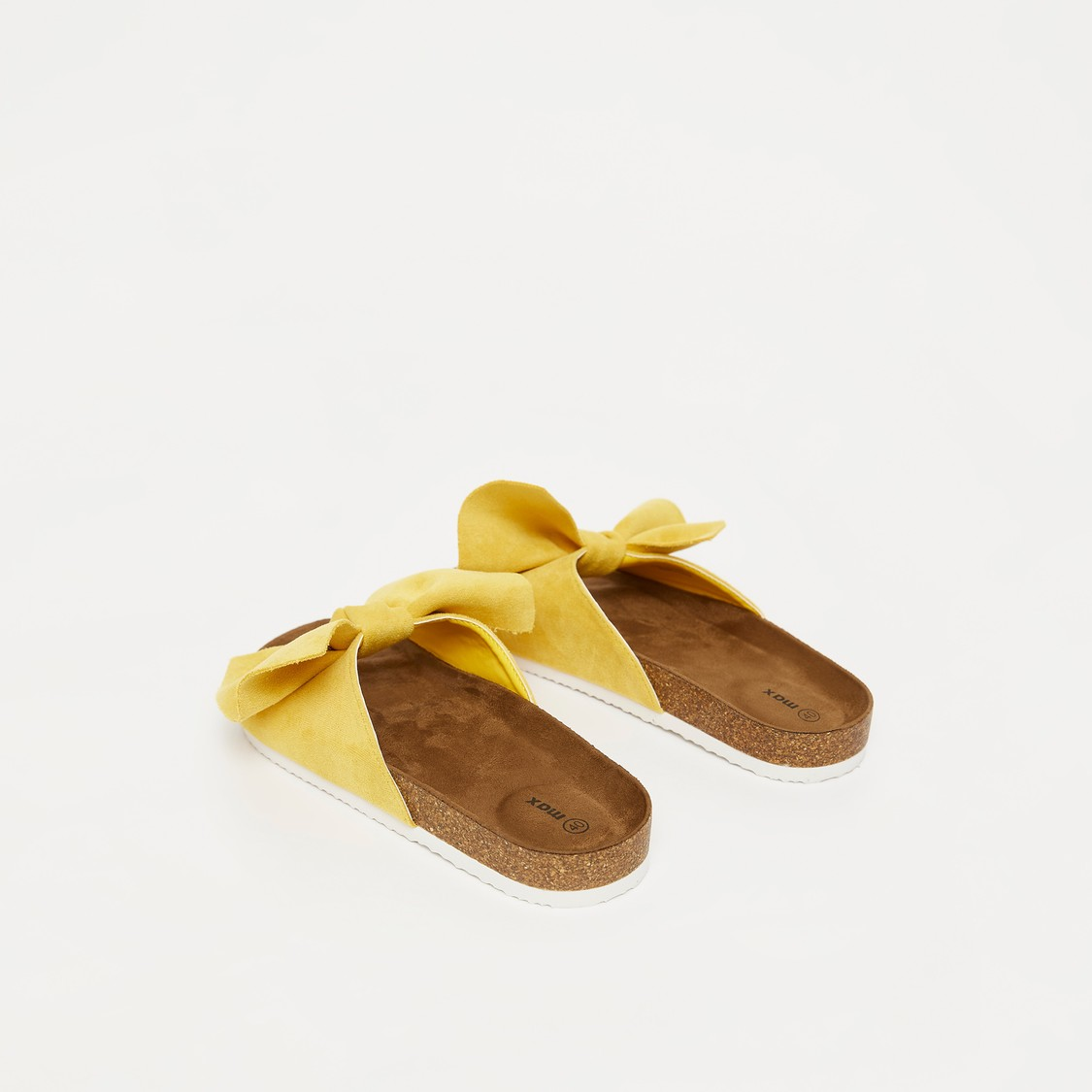 Slip On Sandals with Bow Accented Vamp
