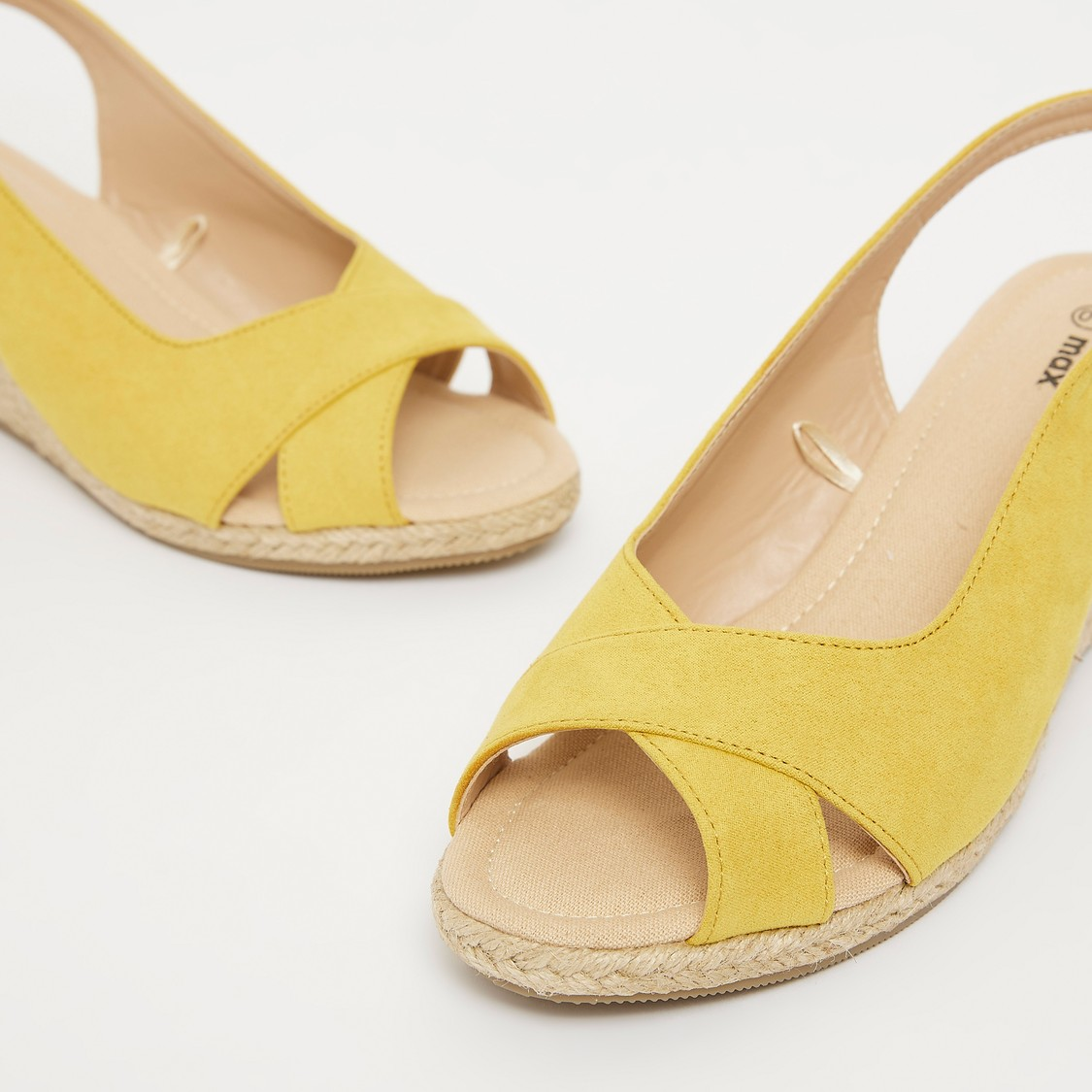 Cross Straps Sandals with Wedge Heels and Pin Buckle Closure