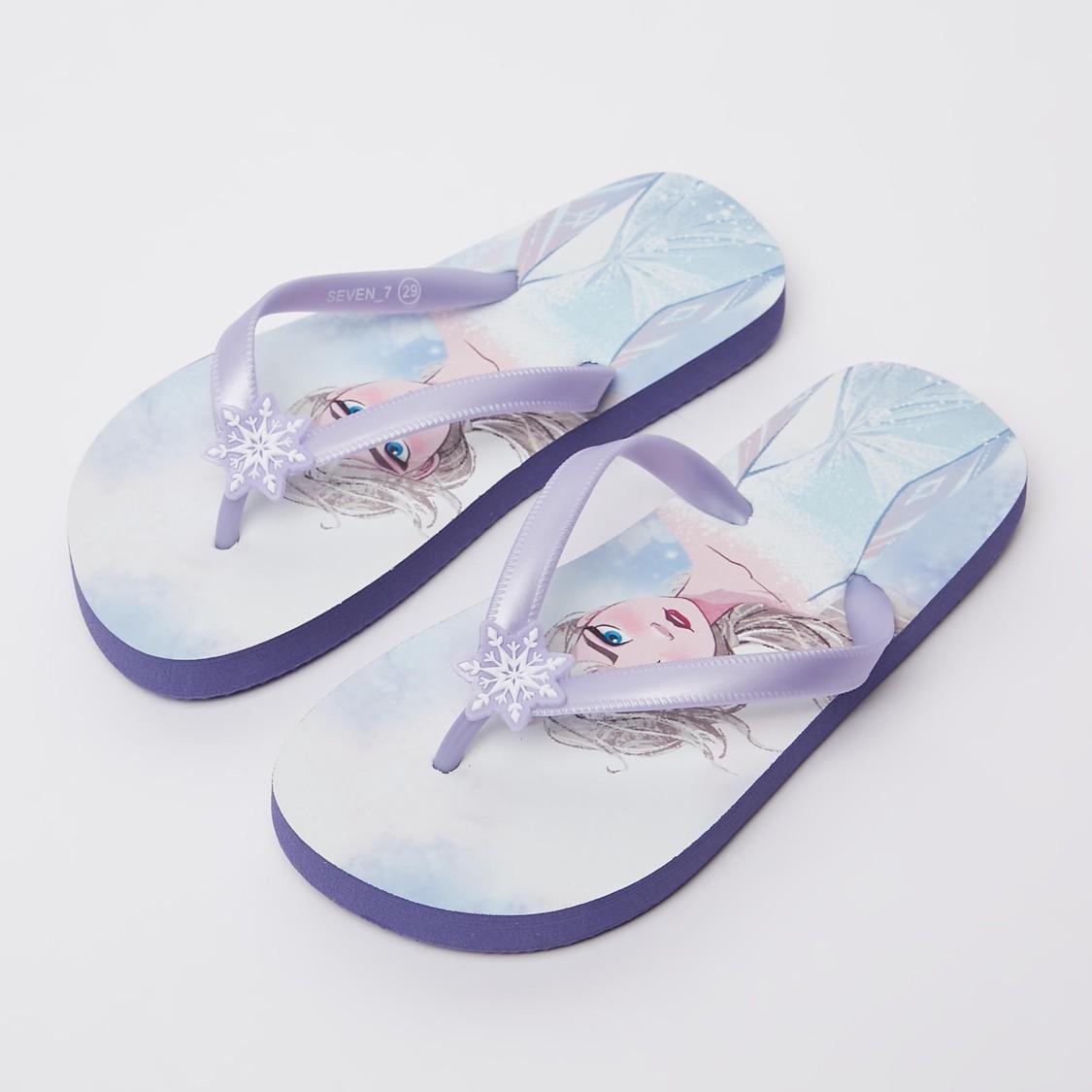 Frozen Print Flip Flops with Applique Detail Straps