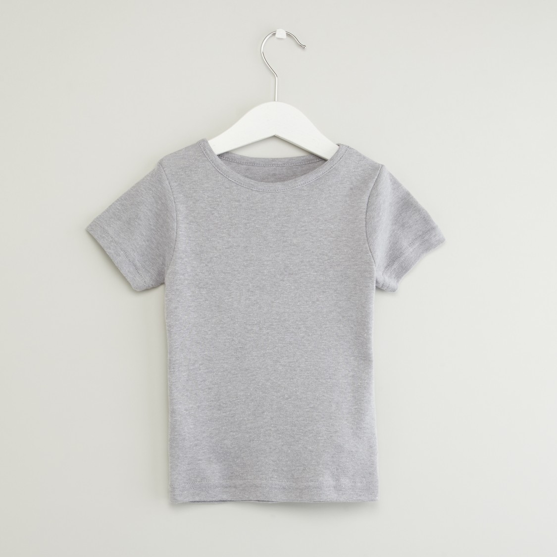 Set of 2 - Plain T-shirts with Round Neck and Short Sleeves