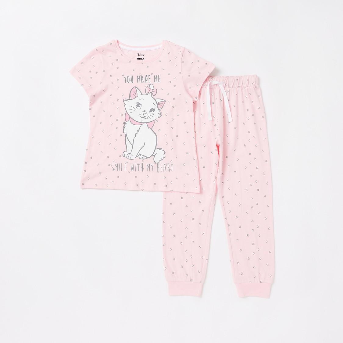 Marie the Cat Print T-shirt and Jog Pants Set