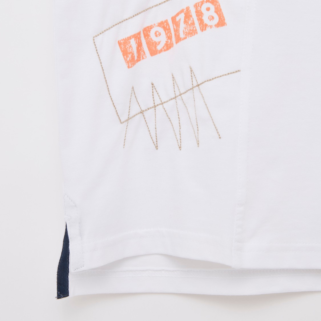 Cut and Sew T-shirt with Round Neck