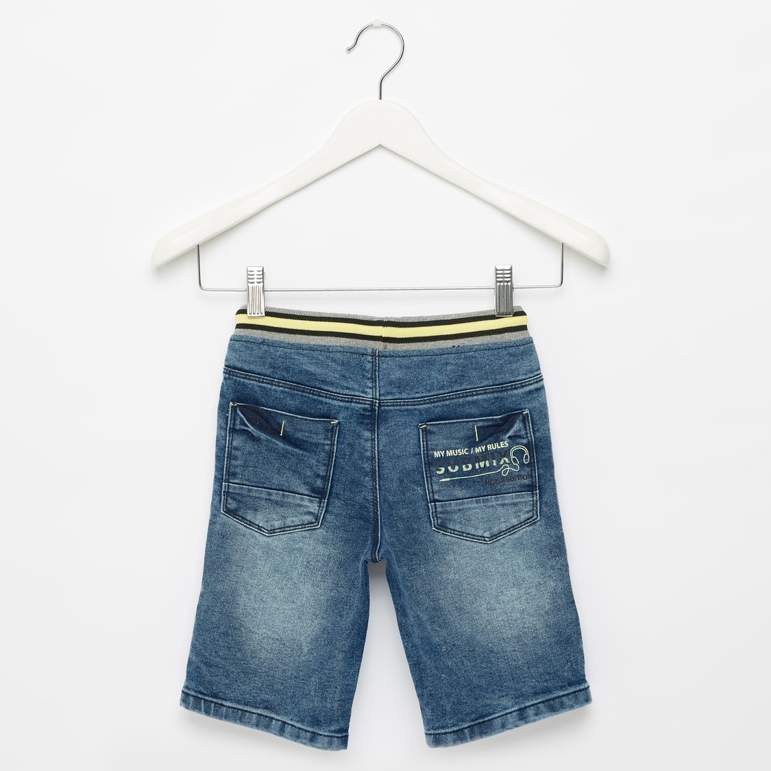 Embossed Print Denim Shorts with Pockets and Drawstring