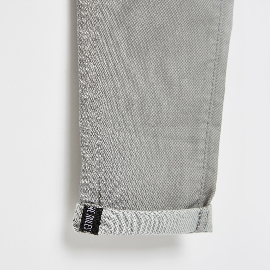 Textured Jeans with Pockets and Button Closure