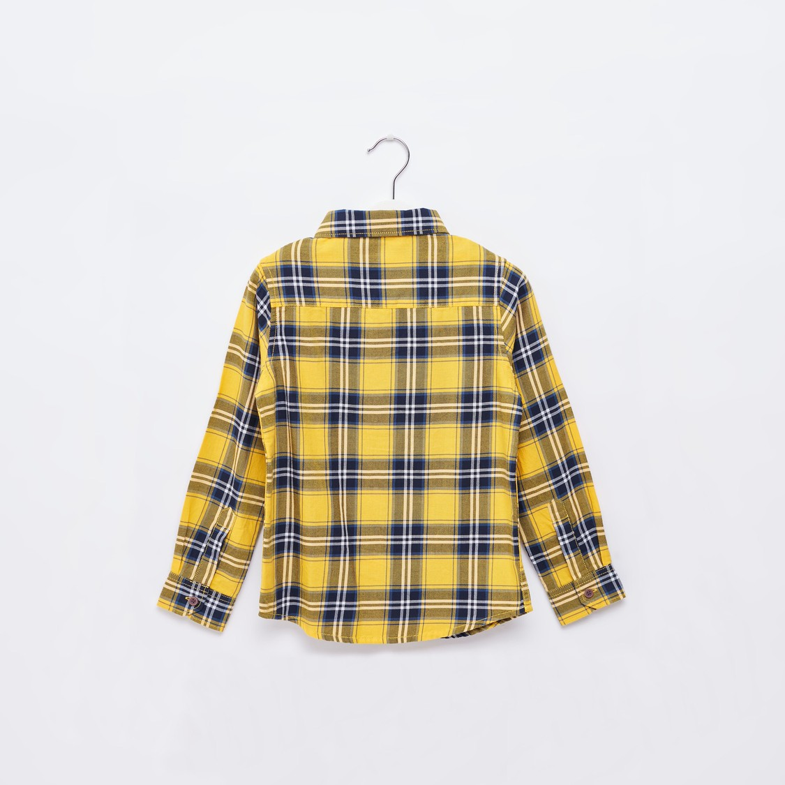 Checked Spread Collared Shirt with Long Sleeves and Patch Pocket