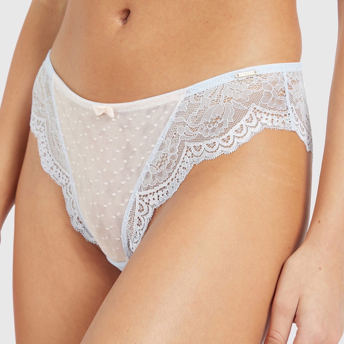 Textured Bikini Briefs with Lace Detail and Bow Applique