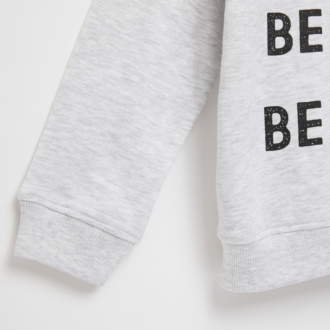 Typographic Print Sweatshirt with Round Neck and Long Sleeves