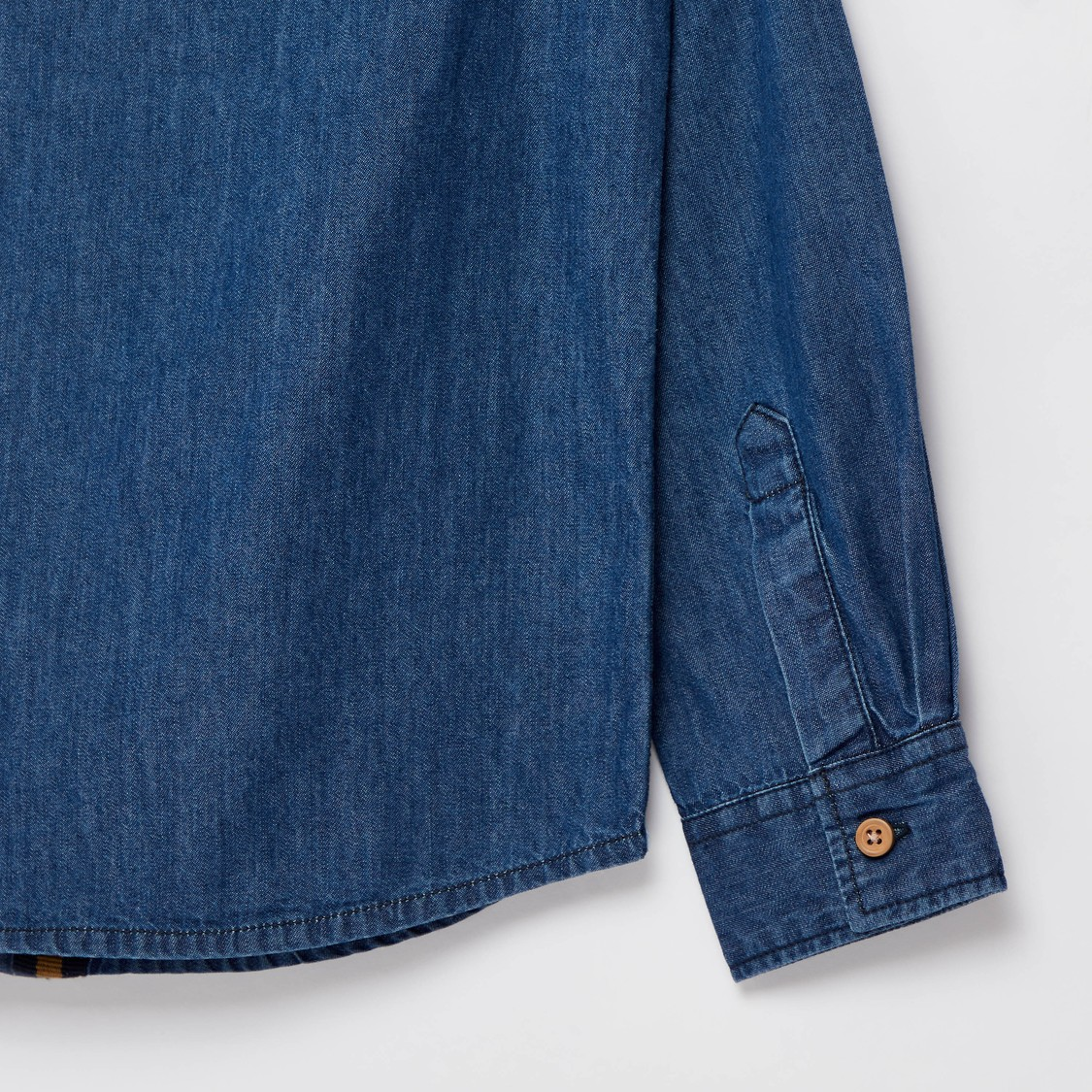 Embroidered Denim Shirt with Spread Collar and Long Sleeves