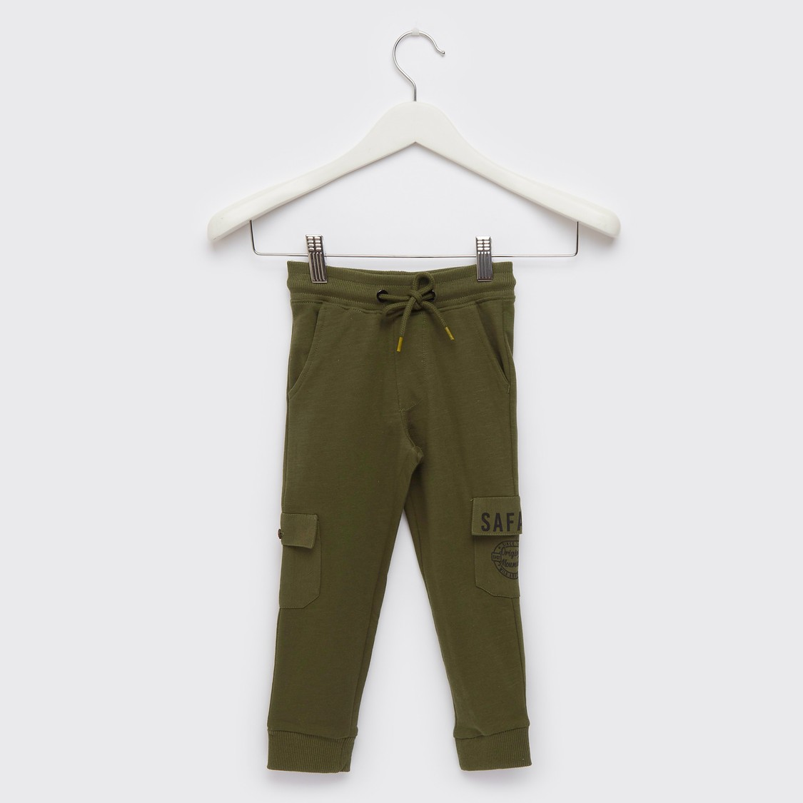 Text Print Knit Cargo Jog Pants with Pockets and Drawstring Closure
