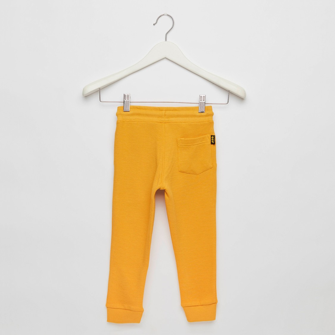 Textured Jog Pants with Batman Embroidery and Drawstring