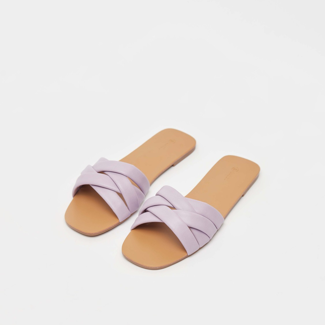 Solid Flat Slides with Cross Strap Pattern