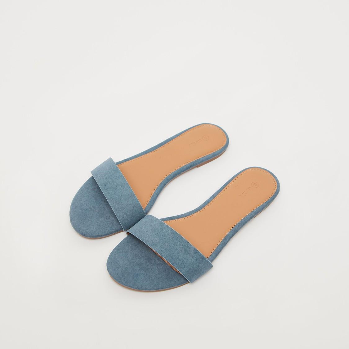 Solid Slip-On Open Toe Flat Sandals