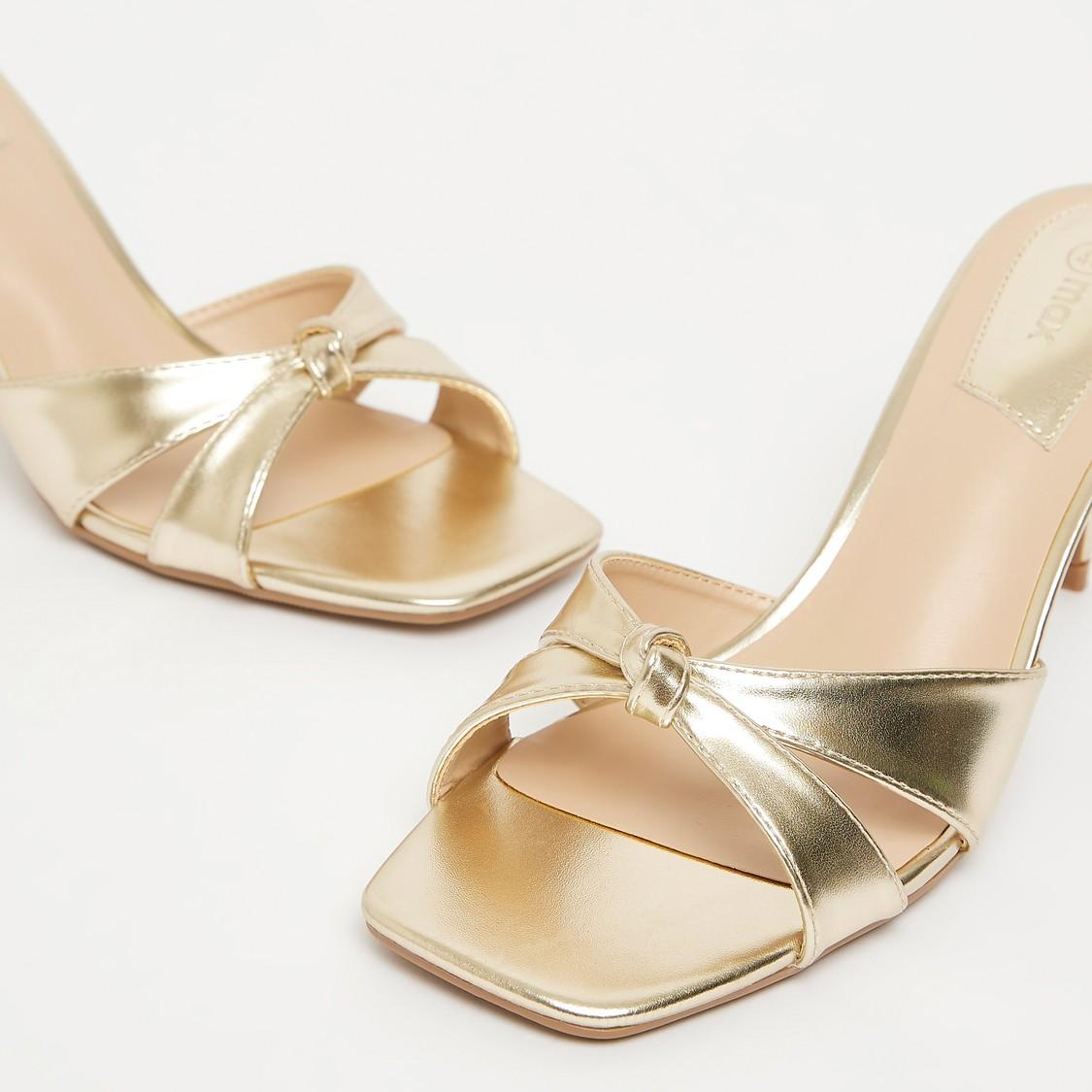 Cross Strap Slip-On Sandals with Stiletto Heels