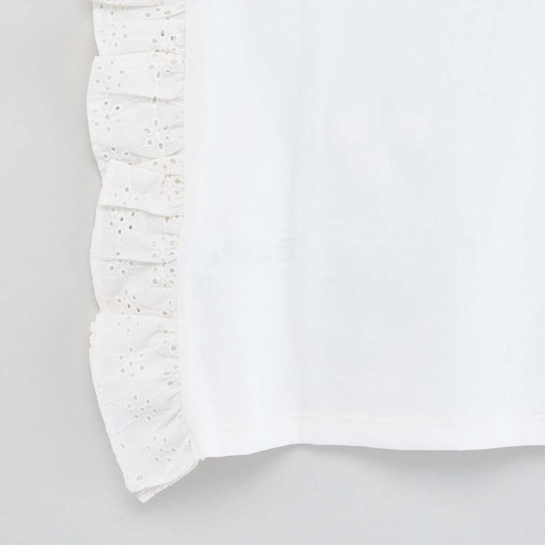 Schiffli Detail T-shirt with Round Neck and Cap Sleeves