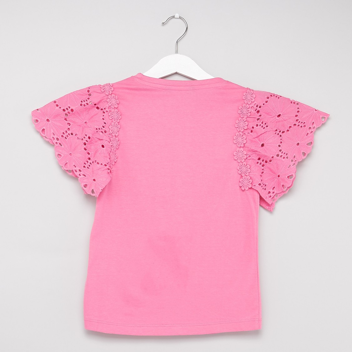 Embellished Round Neck Top with Schiffli Detail Sleeves