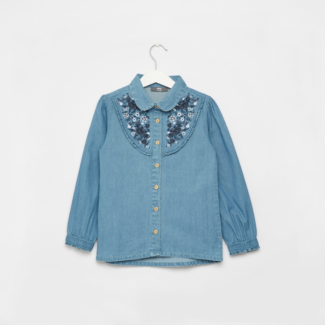 Embroidered Yoke Denim Shirt with Long Sleeves