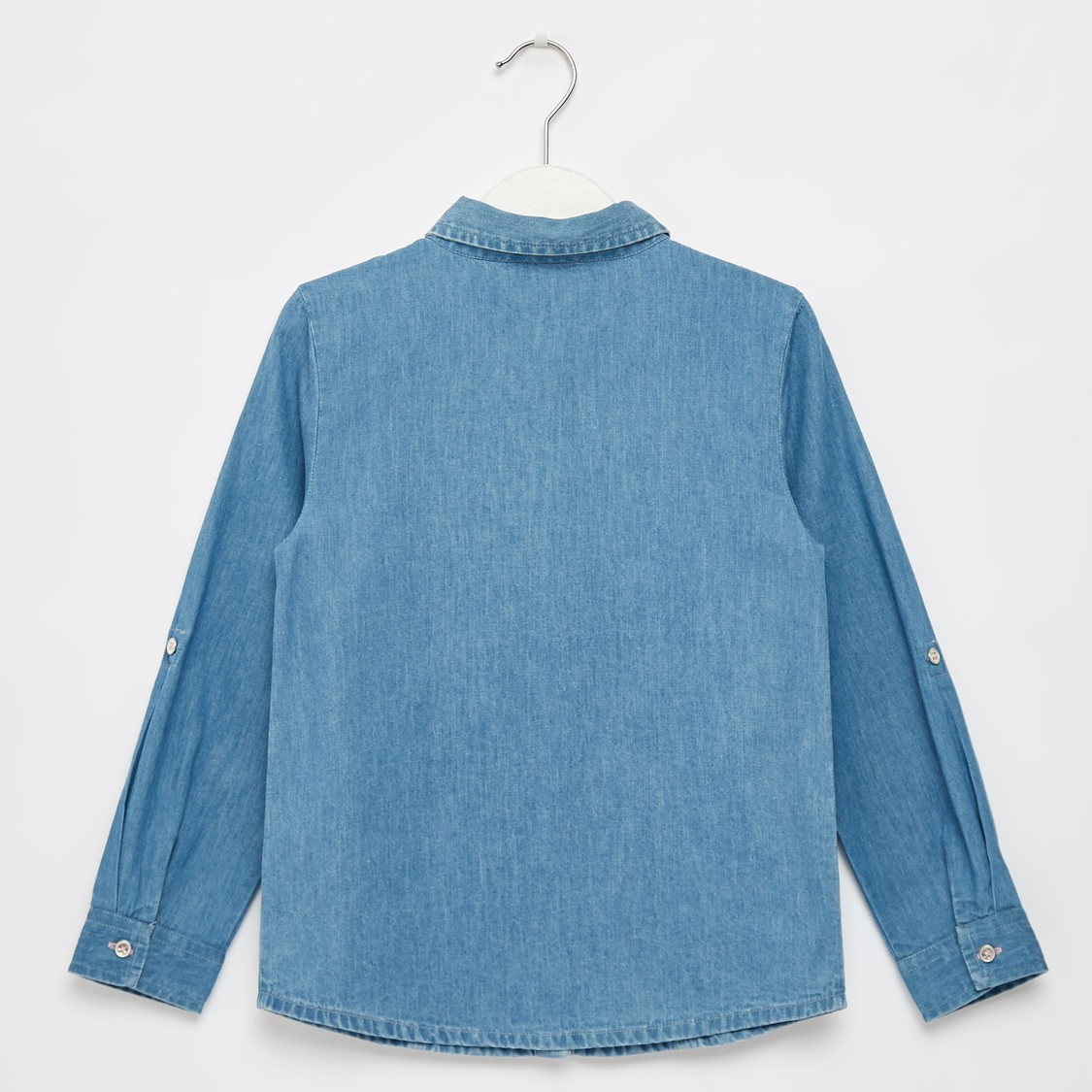 Stud Detail Denim Shirt with Spread Collar and Long Sleeves