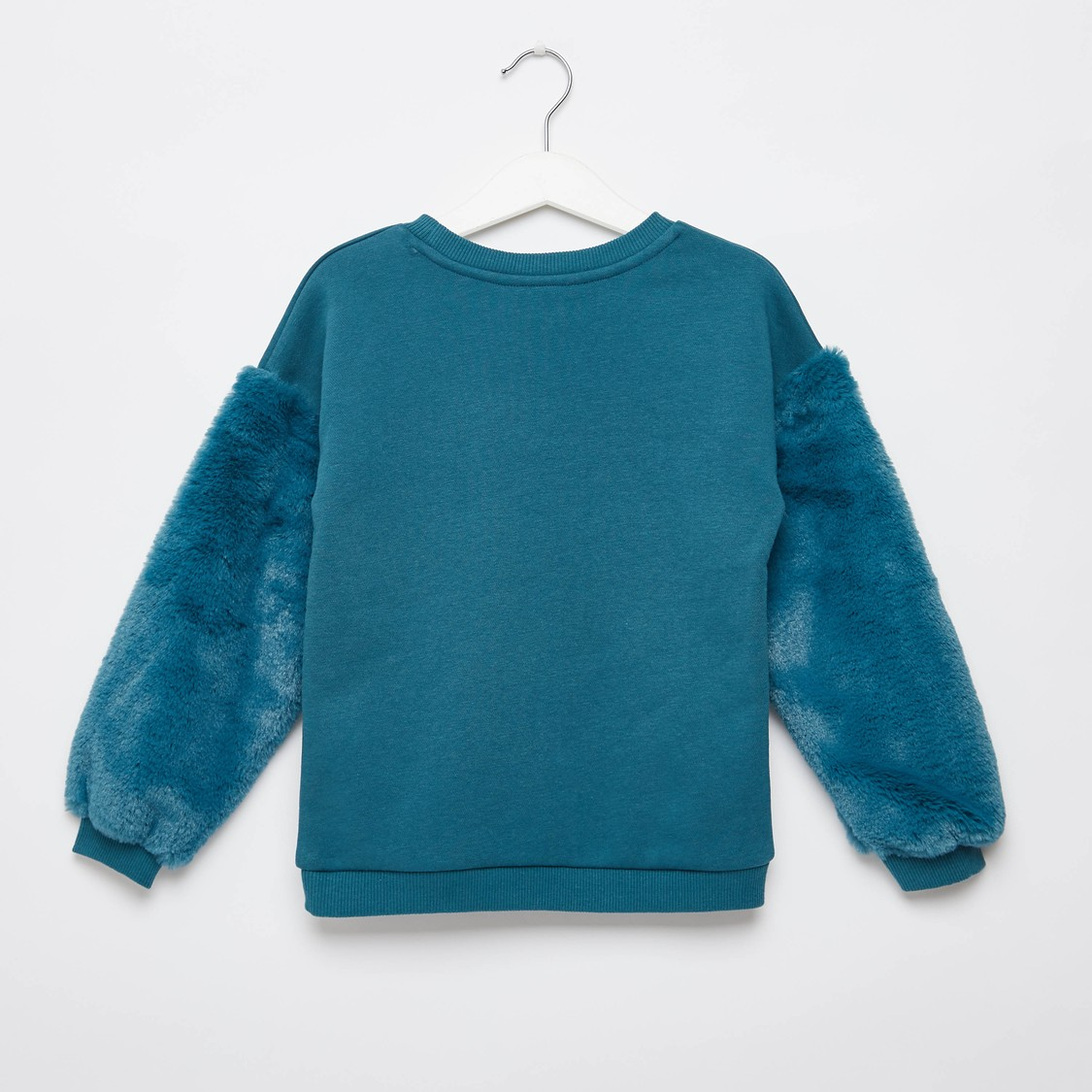 Printed Sweat Top with Plush Detail Long Sleeves and Round Neck