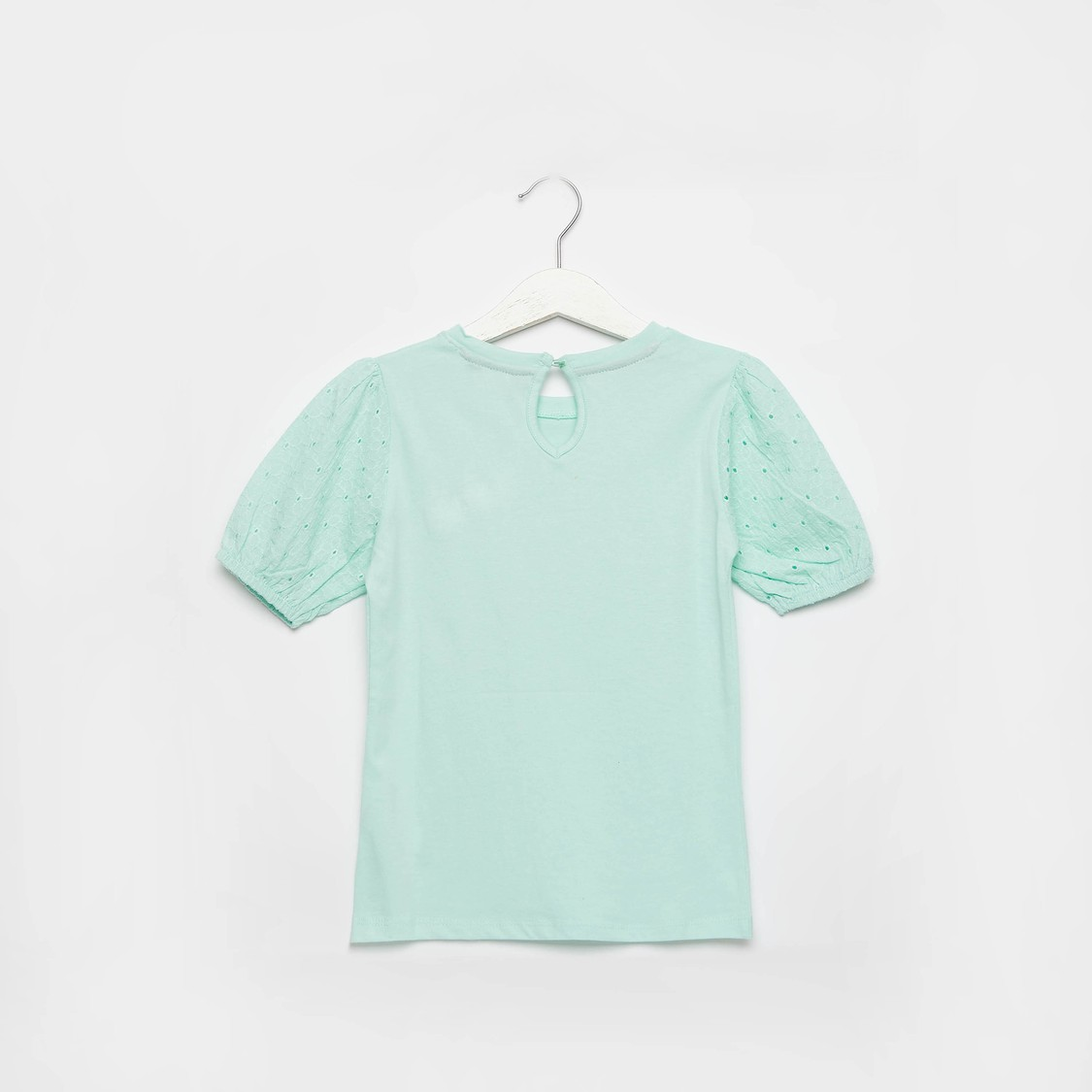Embellished Round Neck T-shirt with Short Sleeves