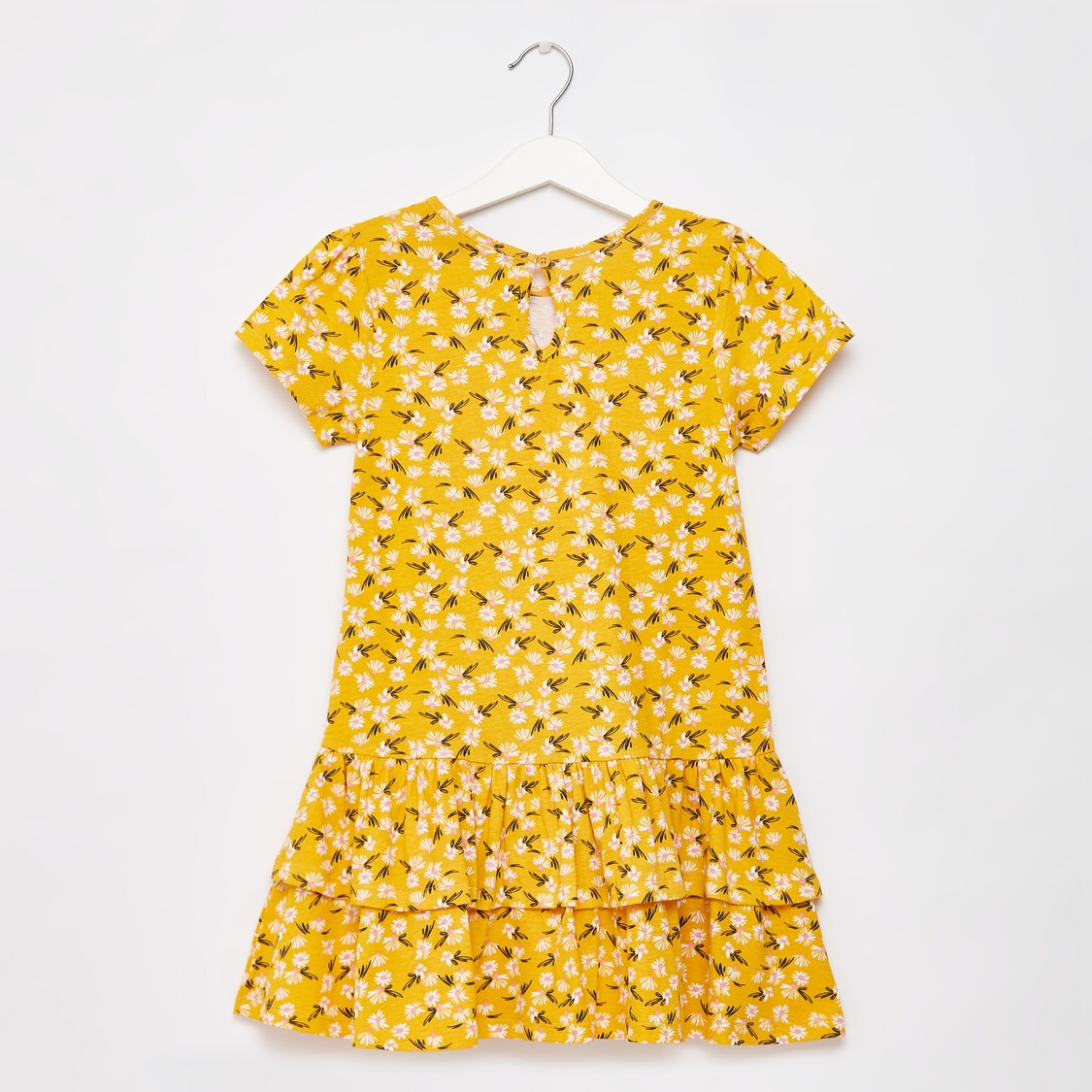 Floral Print Knee Length Dress with Round Neck and Cap Sleeves