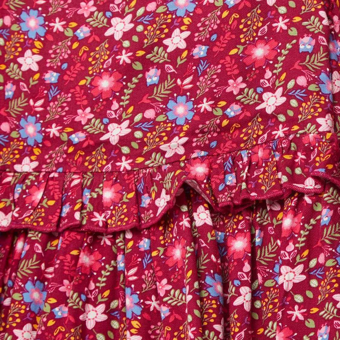 All-Over Floral Print Midi Dress with Long Sleeves and Frill Detail