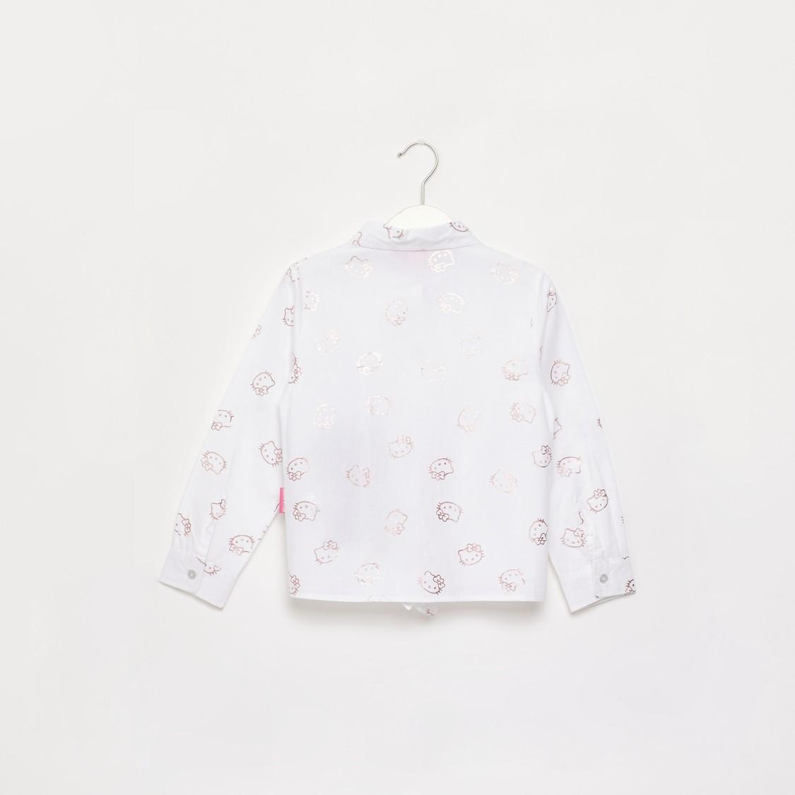 قميص بياقة وأكمام طويلة وطبعات هالو كيتي