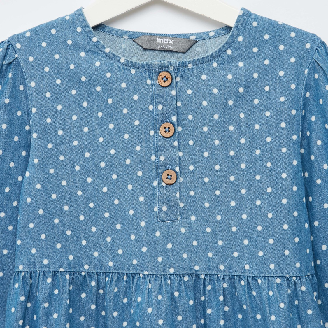 Polka Dots Print Chambray Tiered Dress with Long Sleeves