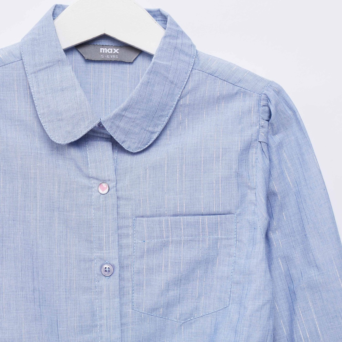 Tie Front Shirt with Patch Pocket and Long Sleeves