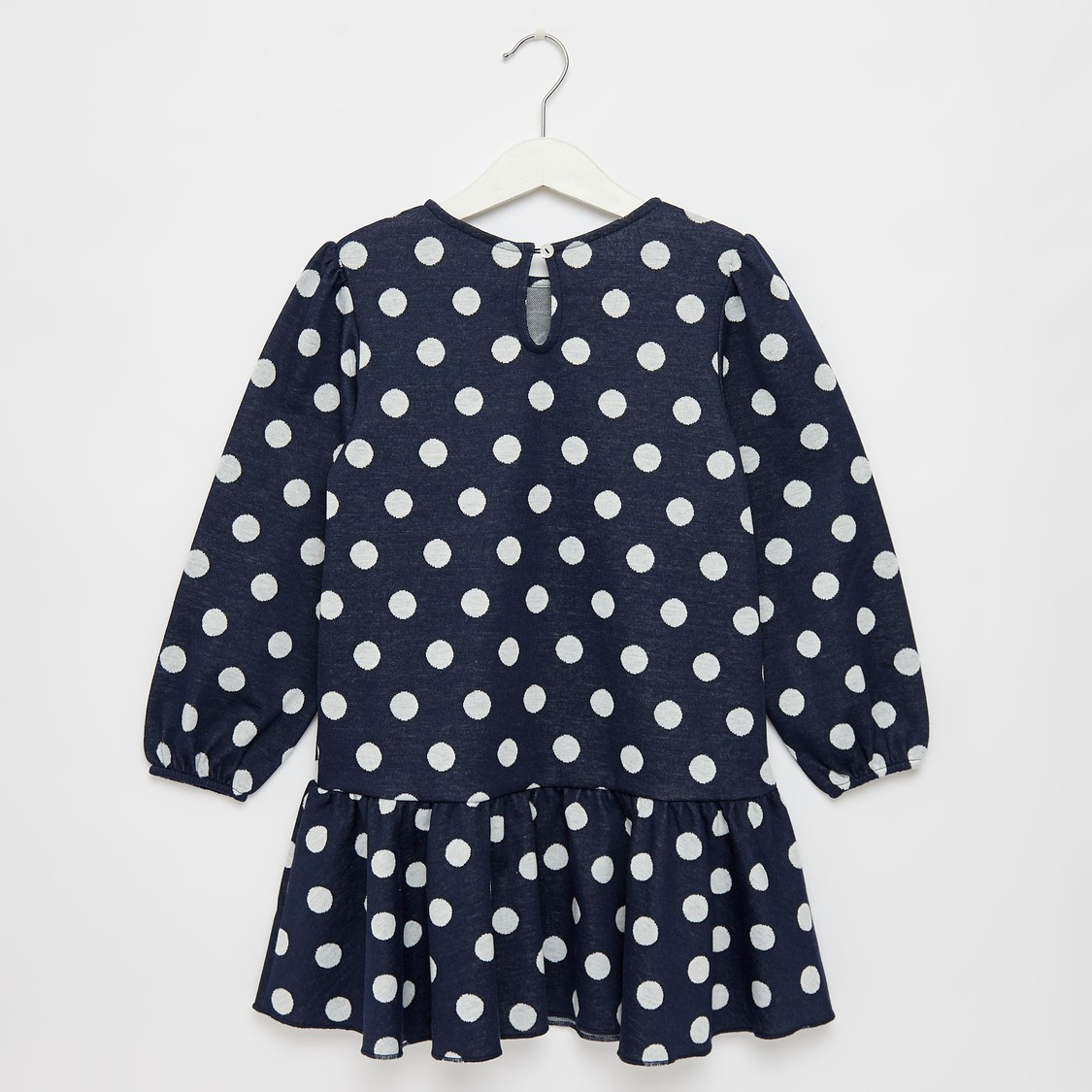Polka Dot Print Round Neck Dress with Puff Sleeves