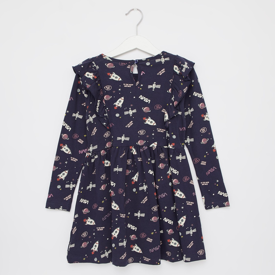 Printed Round Neck Dress with Long Sleeves and Ruffle Detail