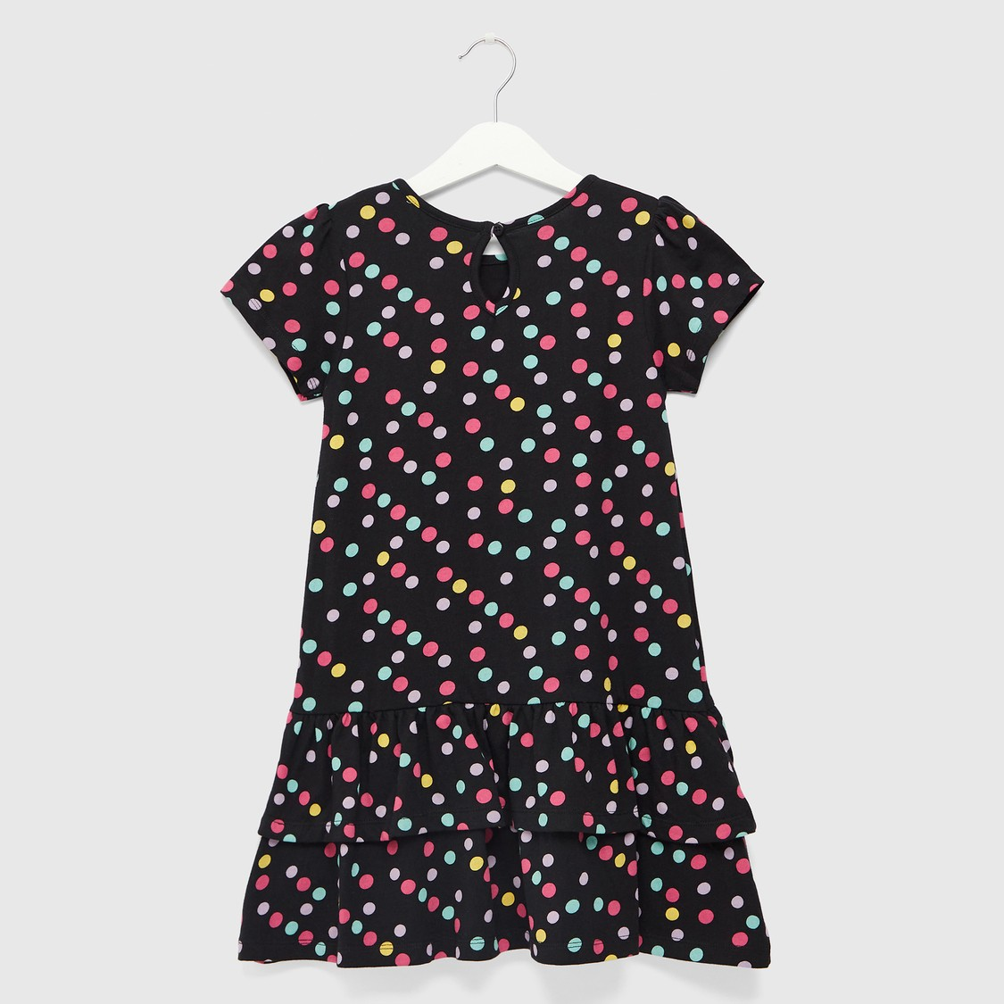 Polka Dot Print Round Neck Tiered Dress with Cap Sleeves