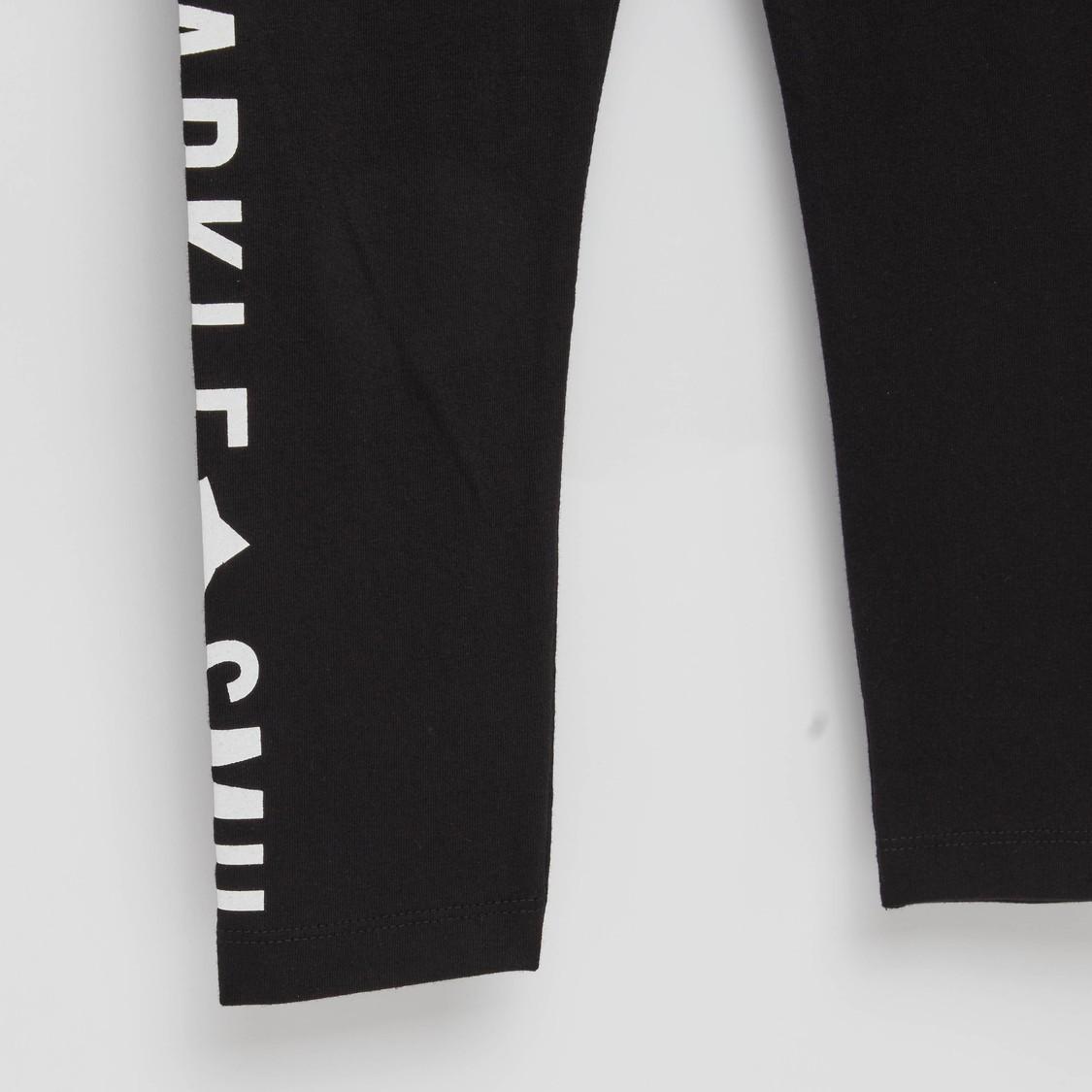 Typographic Print Leggings with Elasticised Waistband