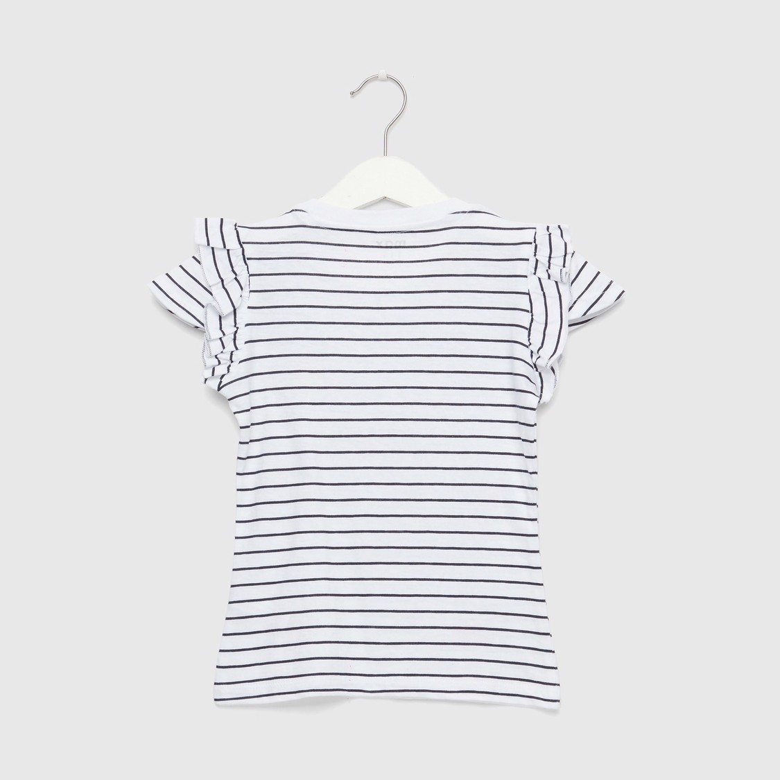 Striped T-shirt with Embellished Cherry Prints and Cap Sleeves