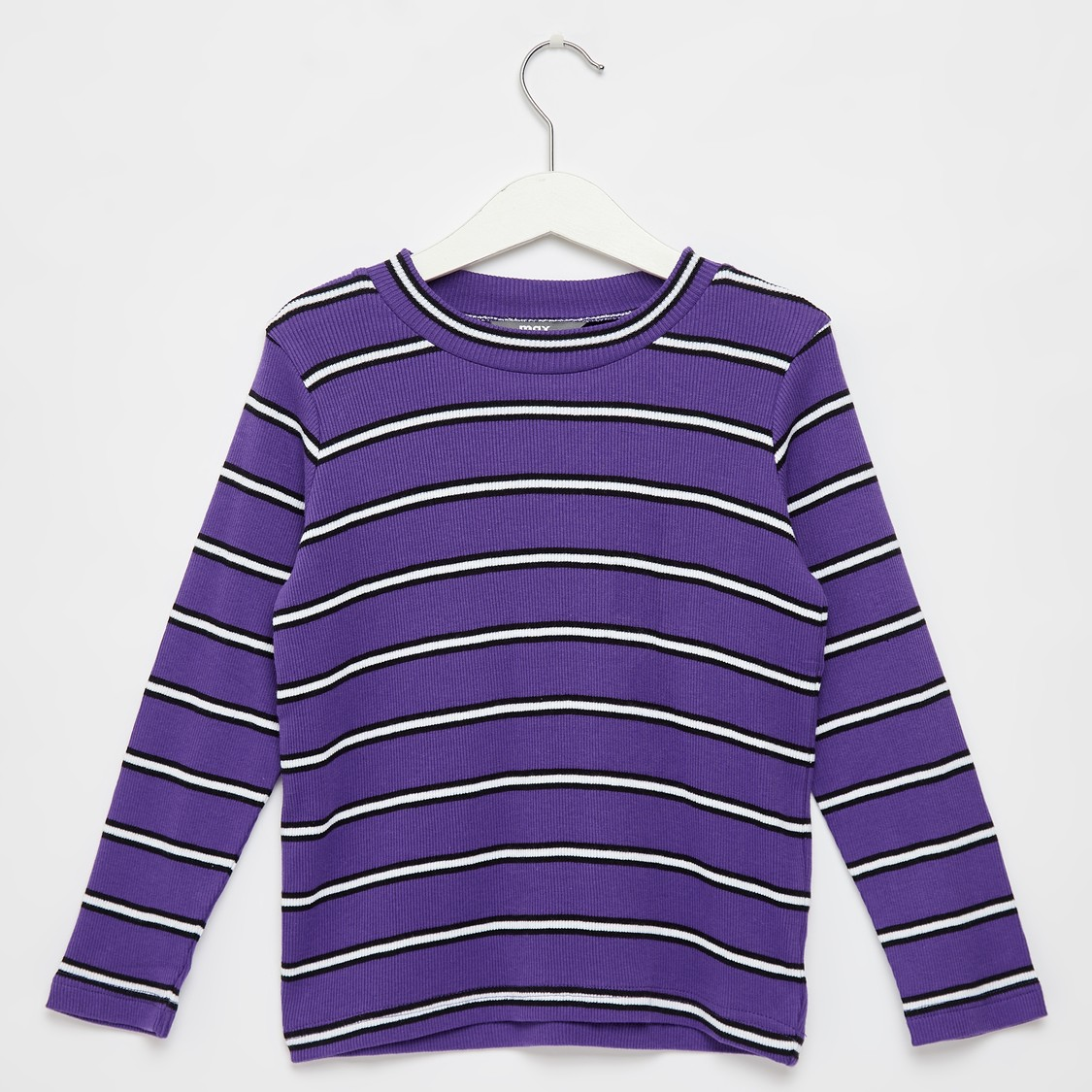 Striped Crew Neck T-shirt with Long Sleeves