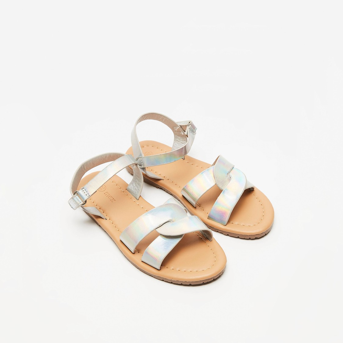 Glossy Flat Sandals with Hook and Loop Closure