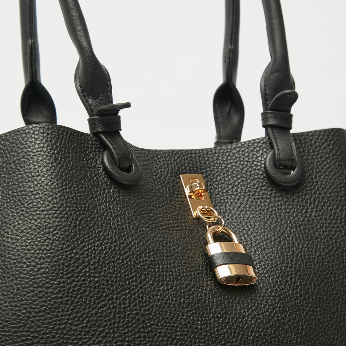 Textured Tote Bag with Lock Accent