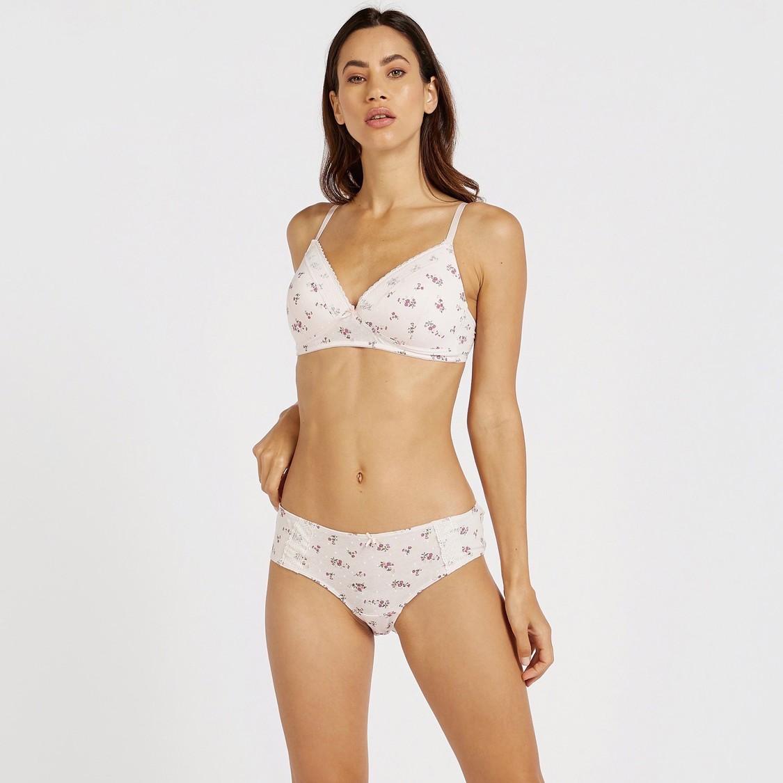 Floral Print Bikini Briefs with Elasticated Waist
