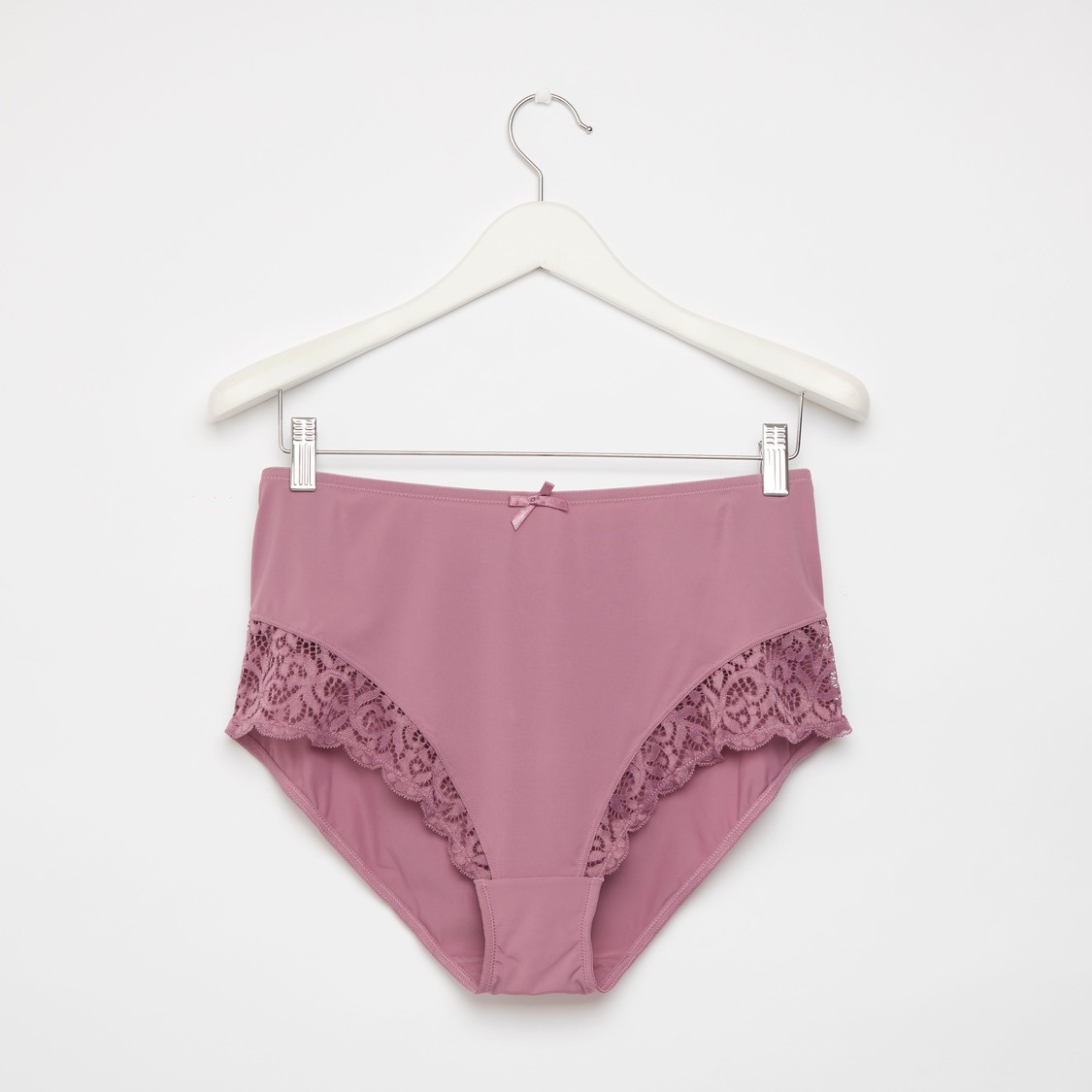 Solid Full Briefs with Lace Trim and Bow Detail