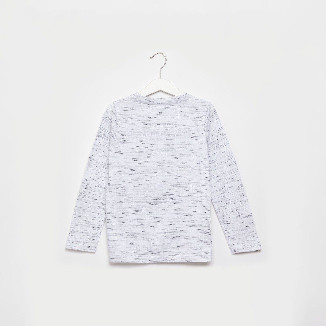 Injected Graphic Print T-shirt with Round Neck and Long Sleeves