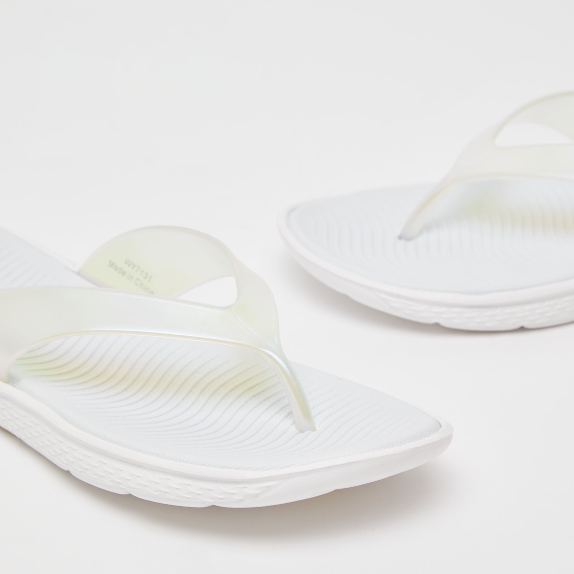 Solid Flip Flops with Textured Footbed